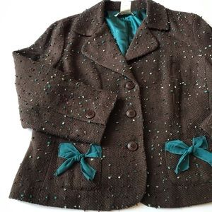 🎁 Fitted Multicolored Jacket with Bows on Pockets